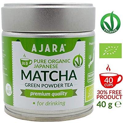 Thé vert Matcha du Japon en poudre [Qualité PREMIUM] à boire - Booser d'énergie, Anti stress, Antioxidant, Détox - Produit à Uji (Kyoto), Japon - Pot de 40g - AJARA