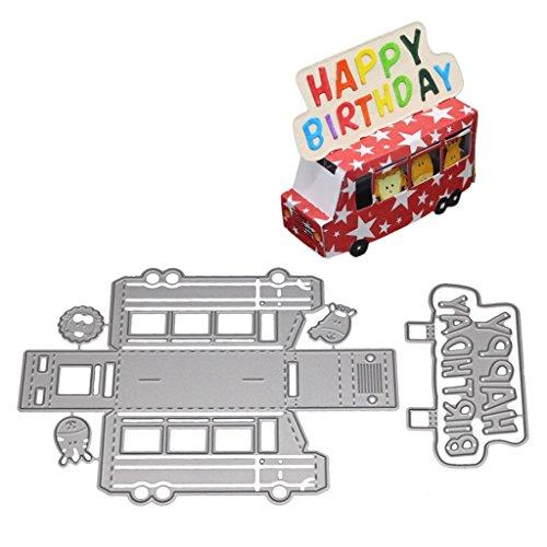 WuLi77 Auto-Figur Happy BirthdaMetal Stanzschablone für Karten, Prägeschablone für Scrapbooking DIY Album Papier Karte Kunst Basteln Dekoration