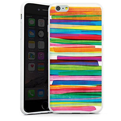 Apple iPhone 7 Tasche Hülle Flip Case Streifen Wasserfarbe Bunt Silikon Case weiß