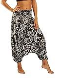 SEEU Haremshose für Frauen Boho Hippie Bohemian Pants Gr. One Size, Schwarzer Elefant