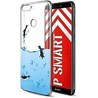 Funda Huawei P Smart, Eouine Cárcasa Ultra Slim Silicona 3d Transparente con Dibujos Impresión Patrón Suave TPU Bumper Case Cover Fundas para Movil Huawei P Smart (Pingüinos)