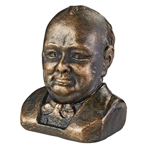 Design Toscano Sir Winston Churchill (1874-1965) Büste aus Eisenguss Skulpturen-Kopfskulpturen, Metall, Bronze 14 x 15 x 18 cm