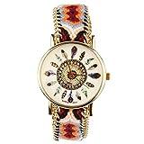Beauty7 Montre Quartz Cadran Motif Plume Boho Bracelet Bande de Corde Bresilien Ajustable Tisse Avec Chaine Doree Hippie Boheme