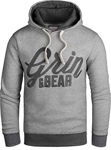 Grin&Bear Slim fit Signatur Logo Jacke Kapuze Hoodie Sweatshirt Kapuzenpullover, grau meliert, M, GEC469 - Logo Slim Fit Kurz