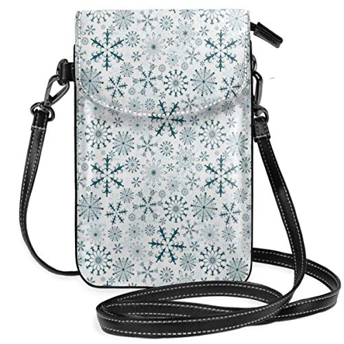 Jiger Women Small Cell Phone Purse Crossbody,Merry Xmas Theme Delicate Snowflakes Cold Freezing Weather Vintage Holiday Pattern Merry Mushroom