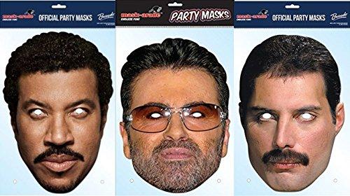 80iger Popstar Masken 3er Pack mit George Michael, Lionel Richie and Freddie (Freddie Maske)