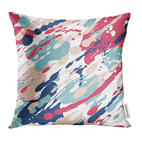 Throw Pillow Cover Blue Abstract Color Splash Pattern Pink Spot Decorative Pillow Case Home Decor Square 18x18 Inches Pillowcase Cover Pink Splash