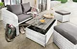 Destiny Lounge Jersey II Weiß Gartenmöbelset Loungeset 4teilig Sitzgruppe Polyrattan