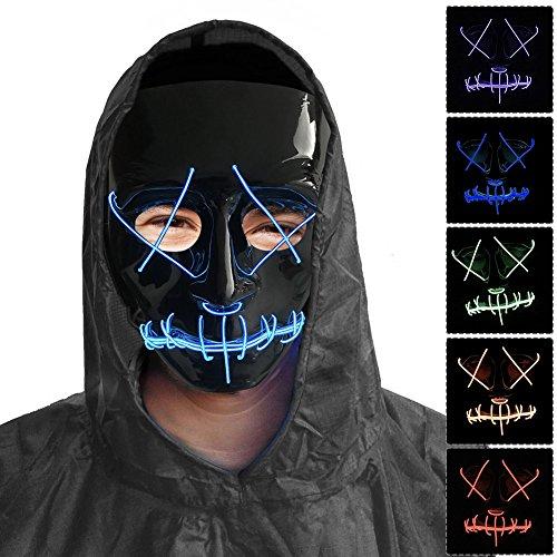 Unbekannt per Leucht Schädel Maske EL Draht Licht erschreckende Kostüm für Halloween Party Tänzer (Helle Farbe Nach Dem Zufallsprinzip) ()