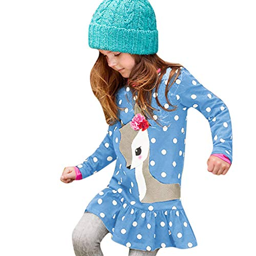 Yazidan Kleinkind Baby mädchen Kinder Kleidung Langarm Cartoon Deer Tops t-Shirt Kleid -Baby Mädchen Candy Farbe Langarm Solide Prinzessin Kleid Casual Kleinkind Kinder Swing Mini Kleid -