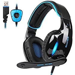 Casque Gaming, SADES SA902 Over-Ear USB Casque Gaming Headset, Son Surround Virtuel 7.1, Casque Gamer avec LED Lumière Contrôle de Volume et Microphone Numérique Amélioré pour PC(Noir/Bleu)