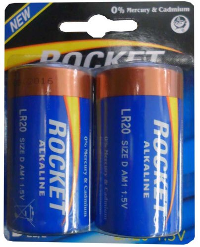 ROCKET 2 Pack D-Cell Batteries Tenergy Alkaline-batterien