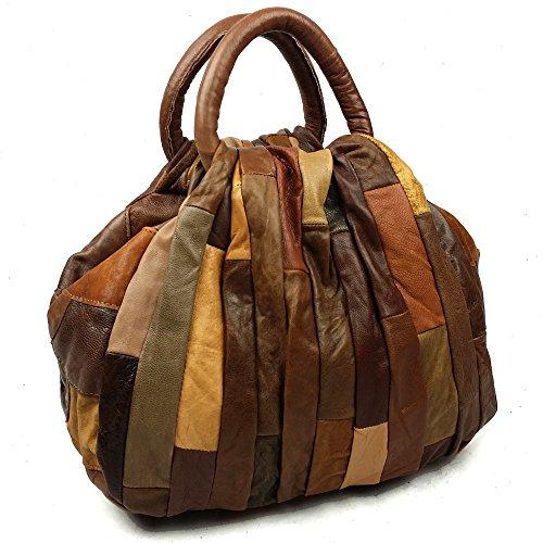 Patchwork von Luxe Naturleder Handtaschen Leder Damen Shopper Trend-Bags Henkeltaschen Freizeittasche Schultertasche Leder Taschen Umhängetasche (Braun) (Bag Leder Patchwork Braun)