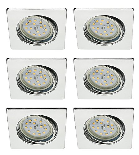 Trango 6x TG6729–068S de 6W LED Foco Foco empotrables en rectangular cromo...