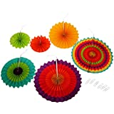 Imported 6pcs Home Garland Decor Hollowed Pinwheel Flower Tissue Paper Fan Flower