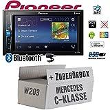Mercedes C-Klasse W203 - Autoradio Radio Pioneer MVH-A200VBT - 2-Din Bluetooth | MP3 | USB | - Einbauzubehör - Einbauset