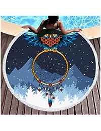 NaXinF Envoltura de la Envoltura del bebé Patrones de búho Dreamcatcher Impresos Ronda Toalla de Playa