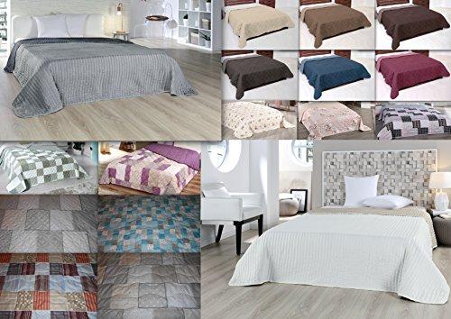 MB Warenhandel24 XXL Tagesdecke Allzweckdecke ca. 220x240 Patchwork Landhaus Sofa Bettüberwurf Beige Flieder Terra Schoko (Luna Patchwork, ca. 220x240 cm)