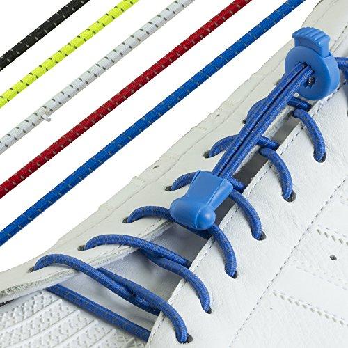 Nie–Set von 3oder 5Paar keine Krawatte Schnürsenkel binden Schnürsenkel–10Farben Elastic Lock Schnürsenkel–Ideal für Wanderer, Traithlon Läufer und andere Sportarten. Für Schuhe, Stiefel und Sportschuhe/Sneakers Pack of 5 Reflective (Junior-stretch-tops)