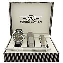 Gift Ideas - Men's Watch with Multifunction Knife, Torch, Ballpoint Pen and Gift Box - Montre-Concept Ref: CCLA765-ORANGE