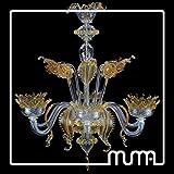 Kronleuchter 6-flammig 80x 80cm Kristall und Bernstein Murano-Glas 100% handmade