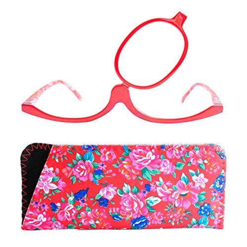 Make-Up Schminkbrille mit klappbaren Brillenglas | Modische Schminkhilfe mit GRATIS Etui | +3.0 Dioptrien (Rot)