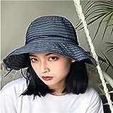GAOQIANGFENG Womens UPF 50 + Fischer Hut Weibliche Xia Bai da Kleine Frische Sonnenschirm Helm Sonnenschutz und Anti-UV-Falten Sonnenhut, Blaue Farbe