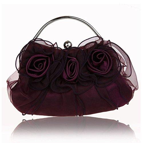 Nuovo fiori borsa borsa borsa da sera sposa di modo della borsa banchetto ( Colore : Rose red ) Viola