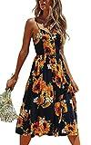 Angashion Damen V Ausschnitt Spaghetti Buegel Blumen Sommerkleid Elegant Vintage Cocktailkleid Kleider, Größe: XXL, Farbe: 650 Sonnenblume