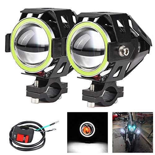 2x Fari moto con luci Angel Eyes CREE U7 DRL Fari fari di guida per auto Moto ATV Faretti anteriori High/Dim/Strobe 3 modalità 6500K. Colore LED Bianco.