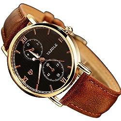 HARRYSTORE Men's Noctilucent Watches Luxury Fashion Leather Glass Quartz Analog Wristwatch