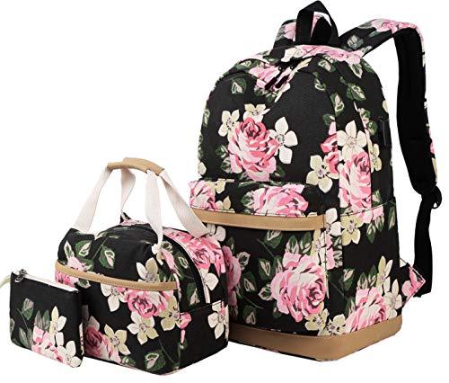 Schulrucksack Mädchen Teenager Damen Schultasche Canvas Schulranzen Set Blumen Rucksack für Mädchen Schule Freizeit mit Lunchpaket Tasche und Mäppchen -