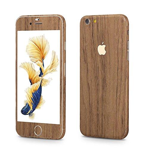 OKCS®Premium Glamoures Sticker für das Apple iPhone 6 Plus, 6s Plus Skin Handyfolie Protector Folie Schutzfolie Slim Sticker Film in Wood-Optik in Orange Nussbaum