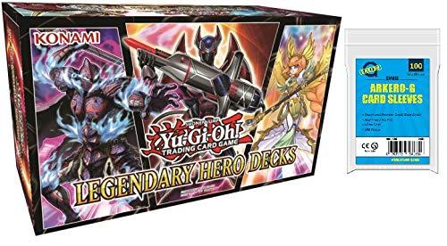 Yu-Gi-Oh! Legendary Hero Decks DEUTSCH (150 Karten) + GRATIS Arkero-G 100 Small Soft Sleeves / Kartenhüllen