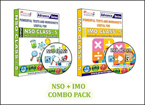 Sure shot question bank - 40 Tests (IMO) & 16 Tests (NSO) - Class 5 Olympiads (Set of 2 CDs) + Previous year questions to practice & Printable worksheets.  available at amazon for Rs.999