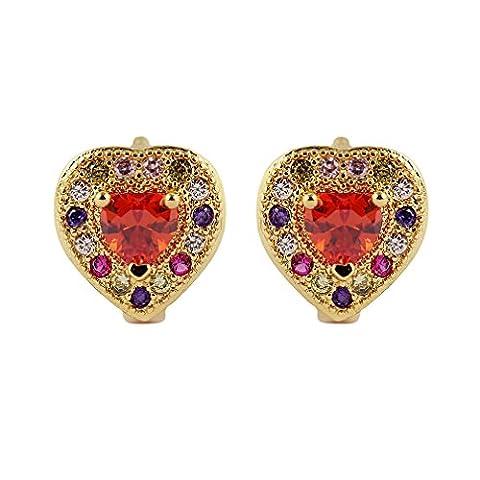 YAZILIND 18K élégant plaqué or cubique Coeur Zirconia Hoop Huggies