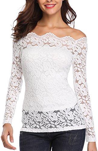 Miss Moly Damen Schulterfrei Oberteile Langarmshirt Vintage Spitze Bluse Tuniken Elegant Weiß - XL