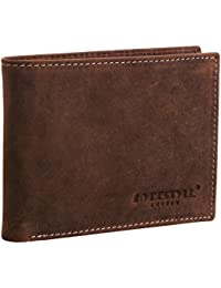 608137a6b490 HYDESTYLE Mens Venator Distressed Leather Trifold Wallet Brown GW1055A