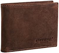 Venator Mens' Distressed Leather Trifold Wallet Brown GW55