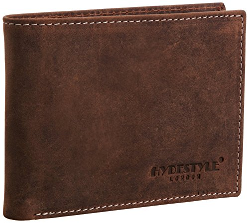 HYDESTYLE Hunter Distressed Leather Herren Brieftasche Stil Trifold GW1055A Brown Braun (Stiefel Fashion Distressed)