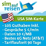 USA Prepaid Reise-Sim-Karte im AT&T Netz mit Guthaben (5 Cent/min, 10 Cent/MB)