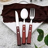 Authda Cutlery Sets Stainless Silverware Utensil Service for Suitable for Family Dinner Friends Gathering Household Restaurant Utensils Tableware Sets (18 Piece Wooden Handle)