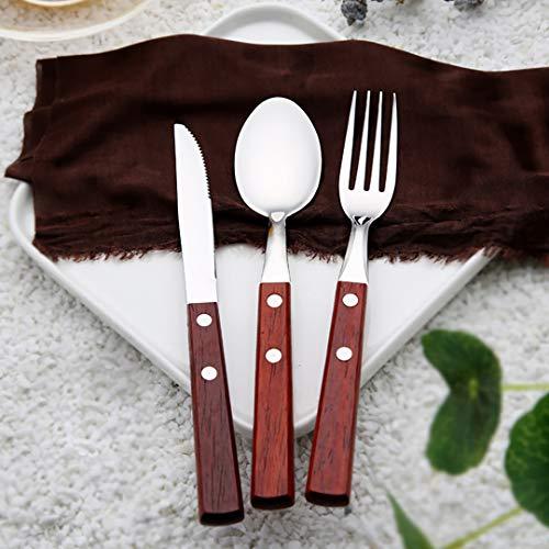Authda 18 posate in acciaio INOX con manico in legno pezzi per 6 persone include coltello forchette cucchiai set di stoviglie con design premium adatto per tutte le occasioni