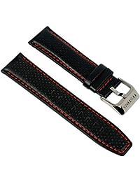 Festina Uhrenarmband Ersatzband Leder Band mit Kontrastnaht 23mm für alle Modelle F16585, Farbe:schwarz / rot