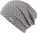 Florence - leichte Beanie Mütze für Damen und Herren - Slouch (grau-schwarz)