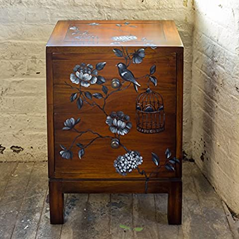 Indira Chest of Drawers Bedroom Furniture Solid Mahogany Hand Made and Hand Painted Bedside Table Chest 2 Drawers Rich Honey Mahogany Stain (Rich Honey Mahogany)
