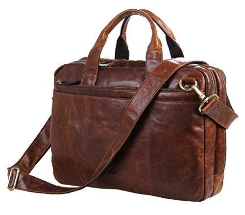 Leder Messenger Tasche für Arbeit, berchirly Leder Laptop Aktentasche Computer Messengerbag Schulter Handtasche braun braun - Zwei-ton-reißverschluss Tote