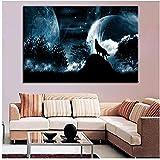 SMENGJIA Kunstdrucke für Wohnzimmer, Schlafzimmer, 1 Stück, Tier-Wandkunst, Wolf, Bilder auf Leinwand, Gemälde, 50 x 70 cm, ohne Rahmen