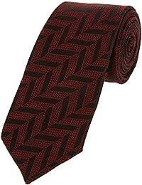 DUCHAMP London Mens 100% Silk Neck Tie Necktie Burgundy Black Herringbone Made In England