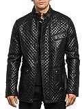 Megastyl Leder-Jacke Designer Bomber Dynamic Biker-Style Slim-Fit schwarz, Größe:XL, Farbe:Schwarz M2